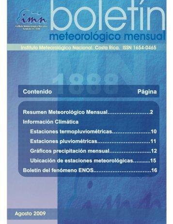 Agosto 2009 - Instituto Meteorológico Nacional