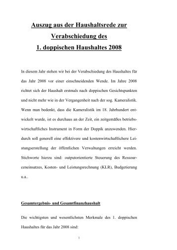 Haushaltsrede 2008 - Abwasserverband Fulda