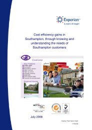 Cost efficiency gains in Southampton, through knowing and ...