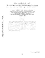 Quantum phase transitions in frustrated, two-dimensional ...
