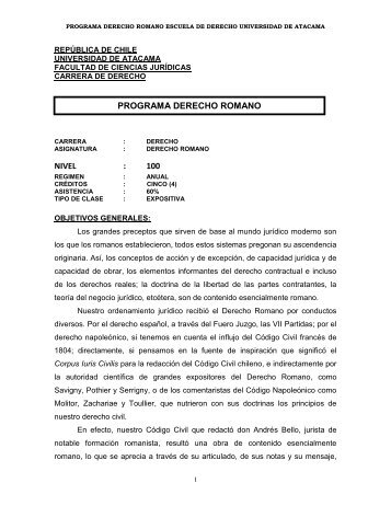 derecho romano - escuela de derecho - Universidad de Atacama