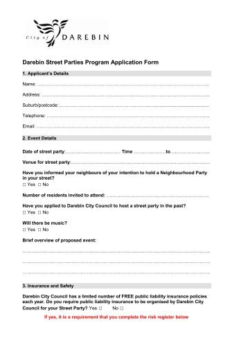 Child Care Centralised Waiting List Application Form - City of Darebin