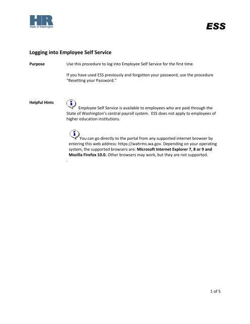 Logging into Employee Self Service - Washington State Department
