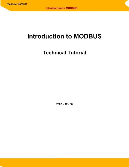 Introduction to MODBUS Technical Tutorial - Sena