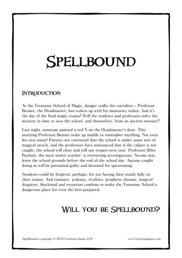 Spellbound - Introduction - Freeform Games