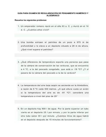 GUÍA PARA EXAMEN DE REGULARIZACIÓN DE PENSAMIENTO ...