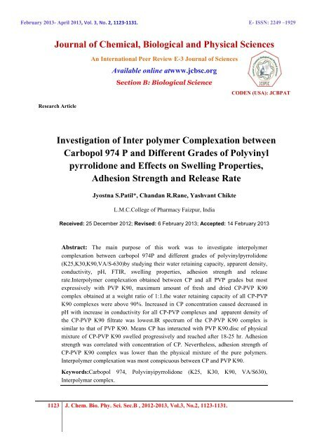 Investigation of Inter polymer Complexation between Carbopol 974