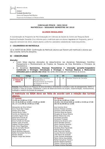 Circular-3 - Centro de Pesquisas René Rachou - Fiocruz