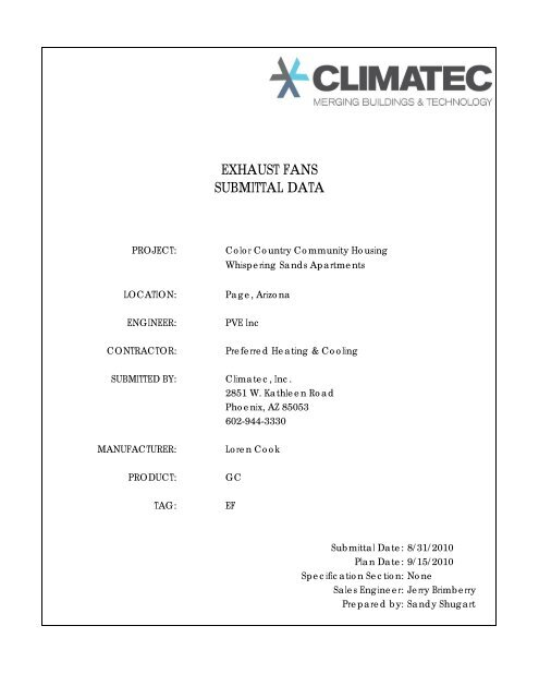 EXHAUST FANS SUBMITTAL DATA - Kier Construction Corporation