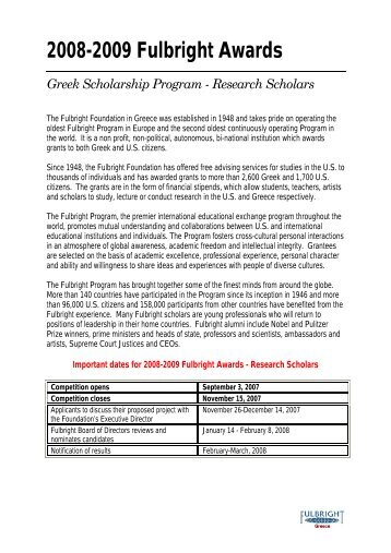 2008-2009 Fulbright Awards Greek Scholarship Program