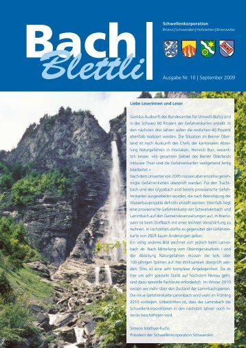 Ausgabe Nr. 10 | September 2009 - schwellenkorporationen.ch