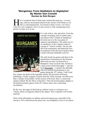 'Wargames: From Gladiators to Gigabytes' By ... - Lone Warrior Blog