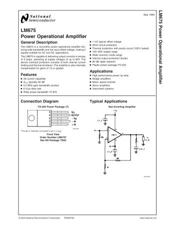 LM675 Power Operational Amplifier - LENS