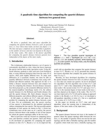 A quadratic time algorithm for computing the quartet distance ...
