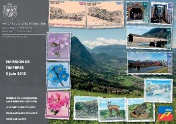 Emission de Timbres 3 juin 2013 - Philatelie Liechtenstein
