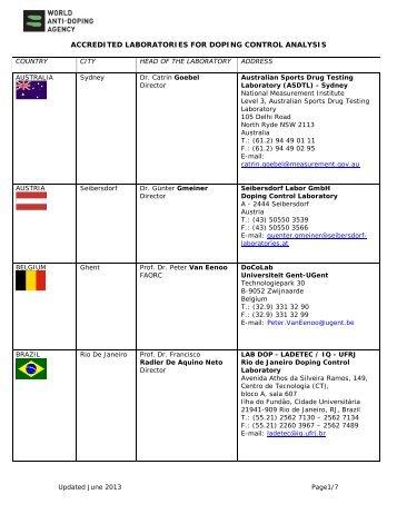11. List of WADA Accredited Laboratories