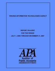 Virginia Information Technologies Agency for the period July 1, 2006 ...