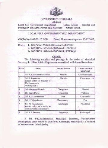 Urban Affairs - Transfer and Postings in the ... - Kerala Govt Logo