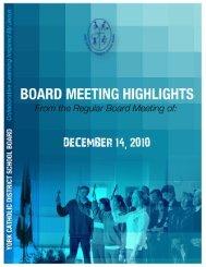 DECEMBER 14 2010 - the York Catholic District School Board