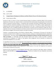Letter from the Commissioner and Instructions - Louisiana ...