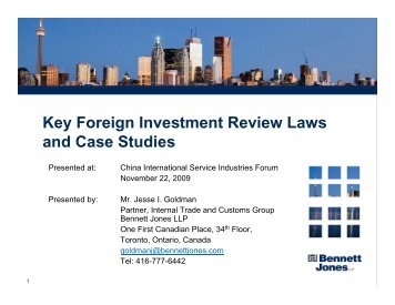 Key Foreign Investment Review Laws and Case ... - Bennett Jones