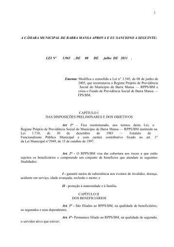 Lei Nº 3.965, de 08 de julho de 2011 - Prefeitura Municipal de Barra ...