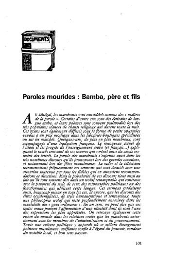 Documents. Paroles mourides : Bamba, père et fils - Politique Africaine