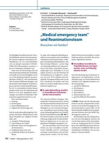 """""""Medical emergency team"""" und Reanimationsteam - Austrian ..."""