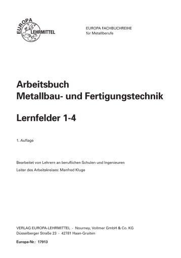 Arbeitsbuch Metallbau- und Fertigungstechnik Lernfelder 1-4