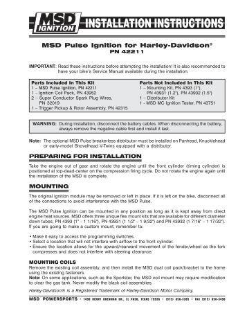 10 installation instructi msd pulse ignition for harley davidsonÃ'® zodiac