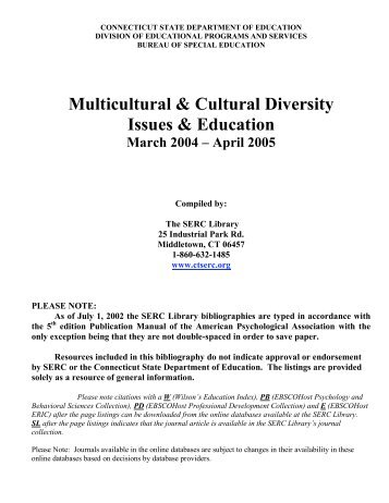 Multicultural & Cultural Diversity Issues & Education - The State ...