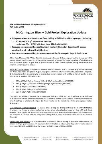 Mt Carrington Silver – Gold Project Exploration Update - White Rock ...