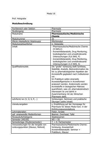 Modul 16 Prof. Holzgrabe Modulbeschreibung Fachbereich oder ...