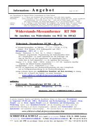 Widerstands-Messumformer RT 500 - SCHRIEVER & SCHULZ & Co ...