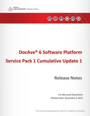 DocAve® 6 Software Platform Service Pack 1 Cumulative ... - AvePoint