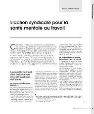 l'action syndicale pour la sante mentale au travail - Comprendre ...