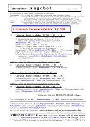Trennverstärker TV 500 - SCHRIEVER & SCHULZ & Co. GmbH