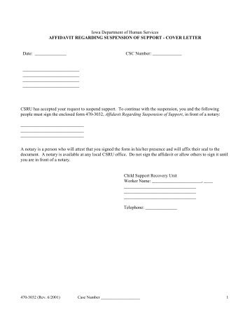 470-3032 Affidavit Regarding Suspension of Support - Iowa ...