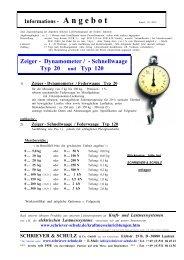 Zeiger - Dynamometer / - Schnellwaage Typ 20 und Typ 120