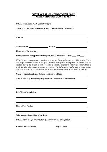 research contract staff appointment form human resources