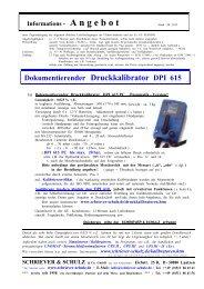 Dokumentierenderi Druckkalibrator DPI 615 - SCHRIEVER ...