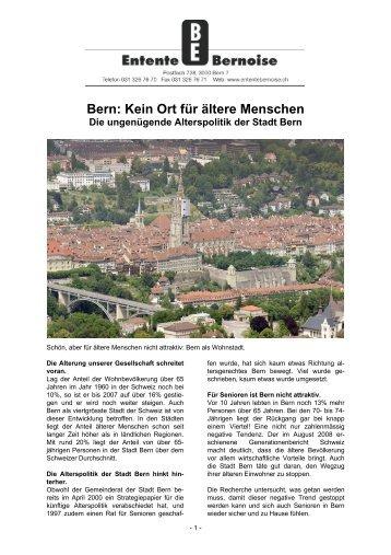 Bern: Kein Ort für ältere Menschen - Entente bernoise