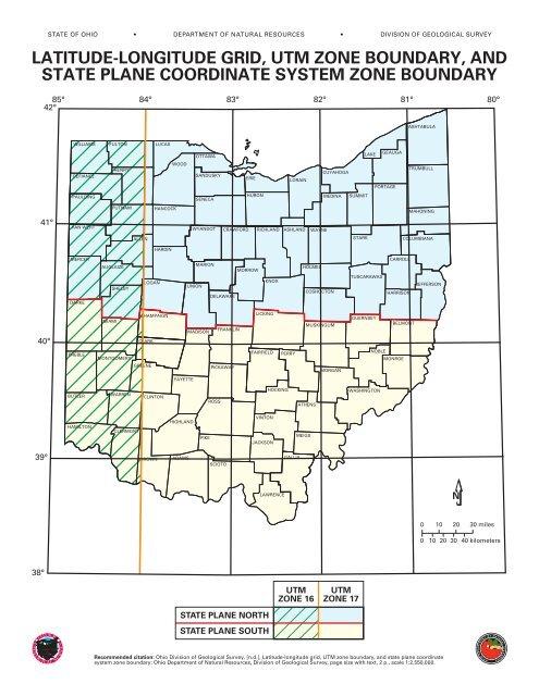 Latitude-longitude grid, UTM zone boundary, and state plane