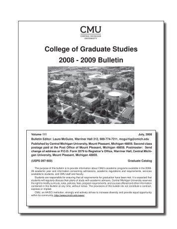 Download the 08-09 bulletin - Academic Bulletin - Central Michigan ...