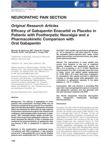 Efficacy of Gabapentin Enacarbil vs Placebo in Patients with ...