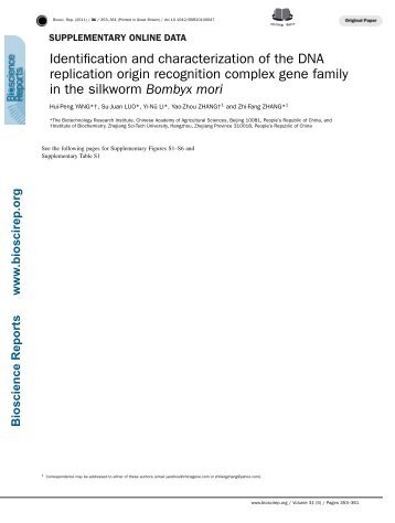Identification and characterization of the DNA replication origin ...