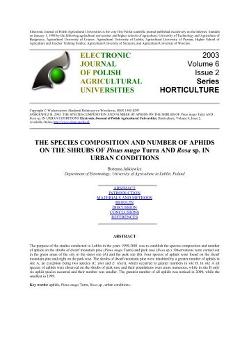 THE SPECIES COMPOSITION AND NUMBER OF APHIDS ON THE ...