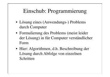 Einschub: Programmierung