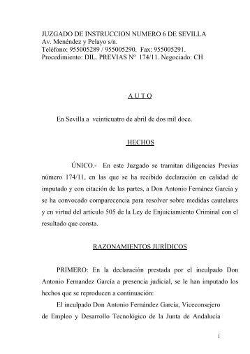 Auto de prisión de Antonio Fernández (Pdf)