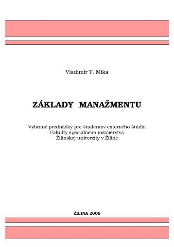 Obsah a Úvod - Fakulta špeciálneho inžinierstva